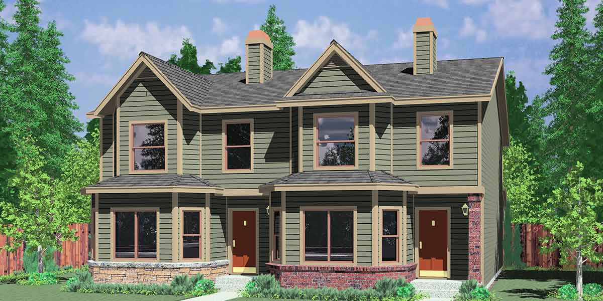 D-565 Duplex house plans, duplex house plans with basement, house plans with rear garages, D-565