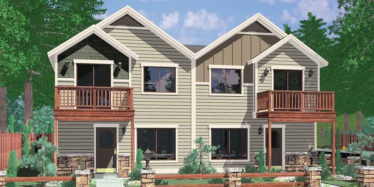 Duplex house plans corner lot duplex house plans narrow lot for Duplex houseplans