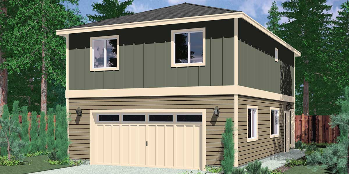 Garage floor plans one two three car garages studio for Two bedroom garage apartment plans