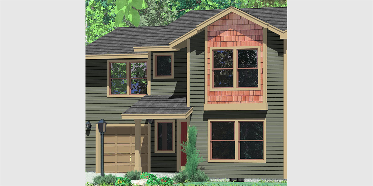 T-396 Triplex  house plans, triplex plans with garage, townhouse plans, T-396