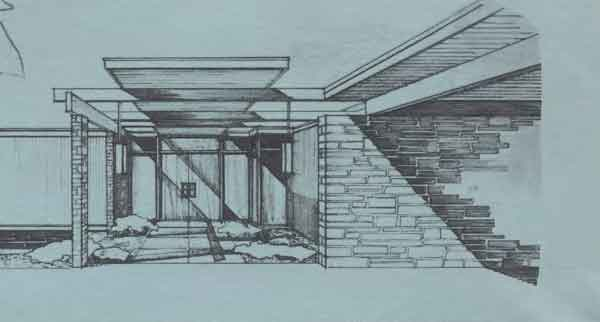 House front drawing elevation view for 9020 Contemporary Archive Home Design