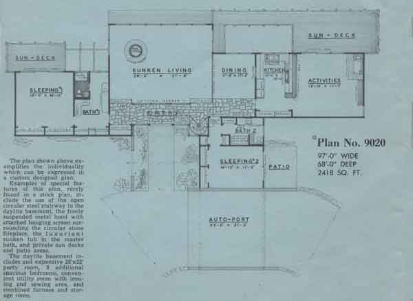 Main Floor Plan 2 for 9020 Contemporary Archive Home Design