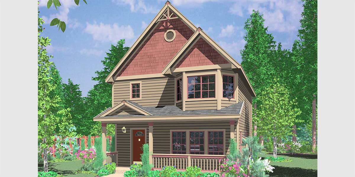 Narrow lot house plans building small houses for small lots for Home plans for narrow lots