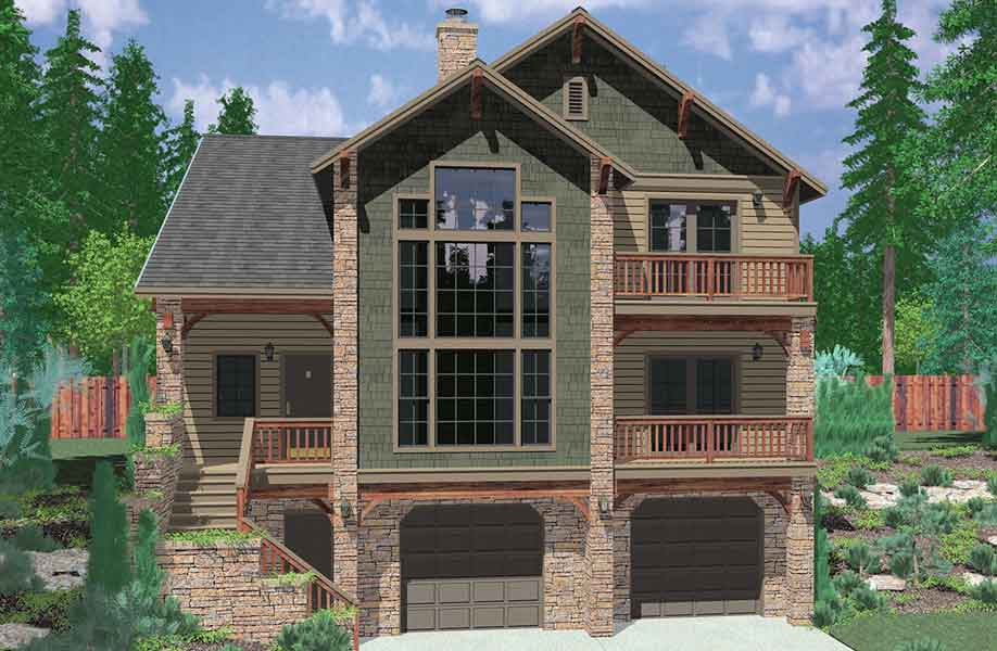 Hillside home plans with basement sloping lot house plans House plans for rear view lots