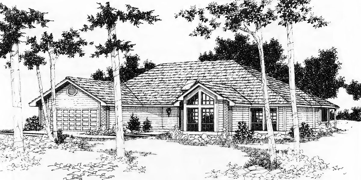 One Level House Plan 3 Bedroom, 2 Bath, 2 Car Garage 55 Ft Wide