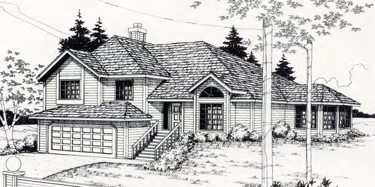 Split level house plans house plans for sloping lots 3 for Split level house plans with walkout basement