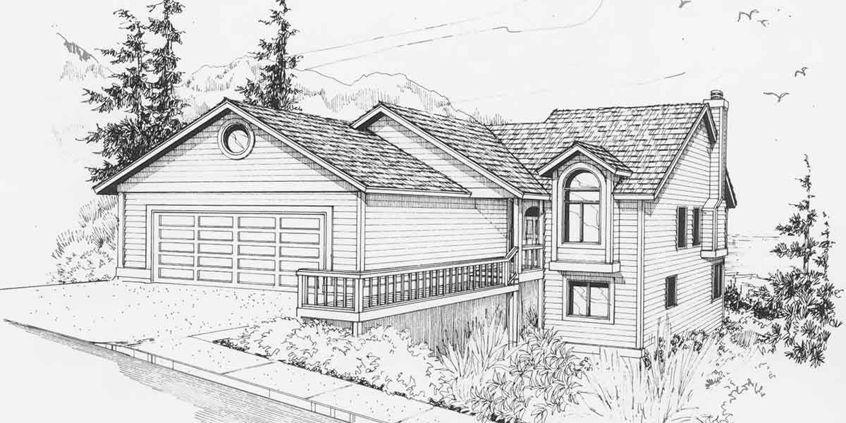 Sloping lot house plans hillside house plans daylight Rear view home plans