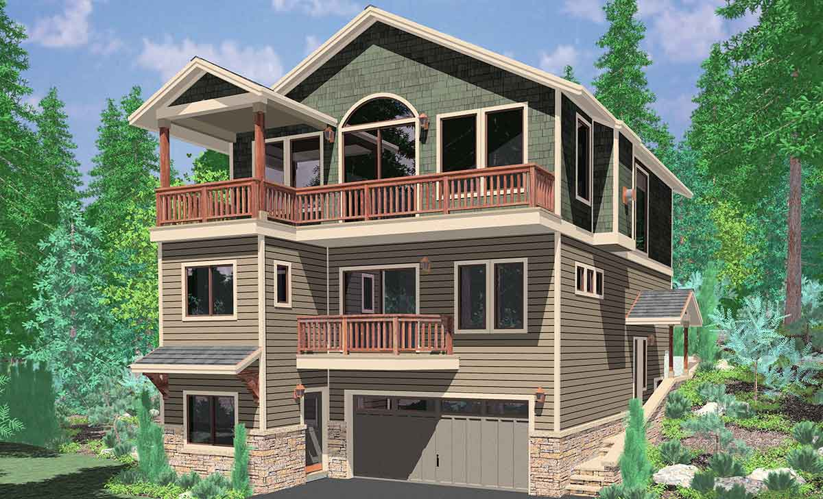 View plan w great rm kitchen on third floor multiple decks for Building a garage on a sloped lot
