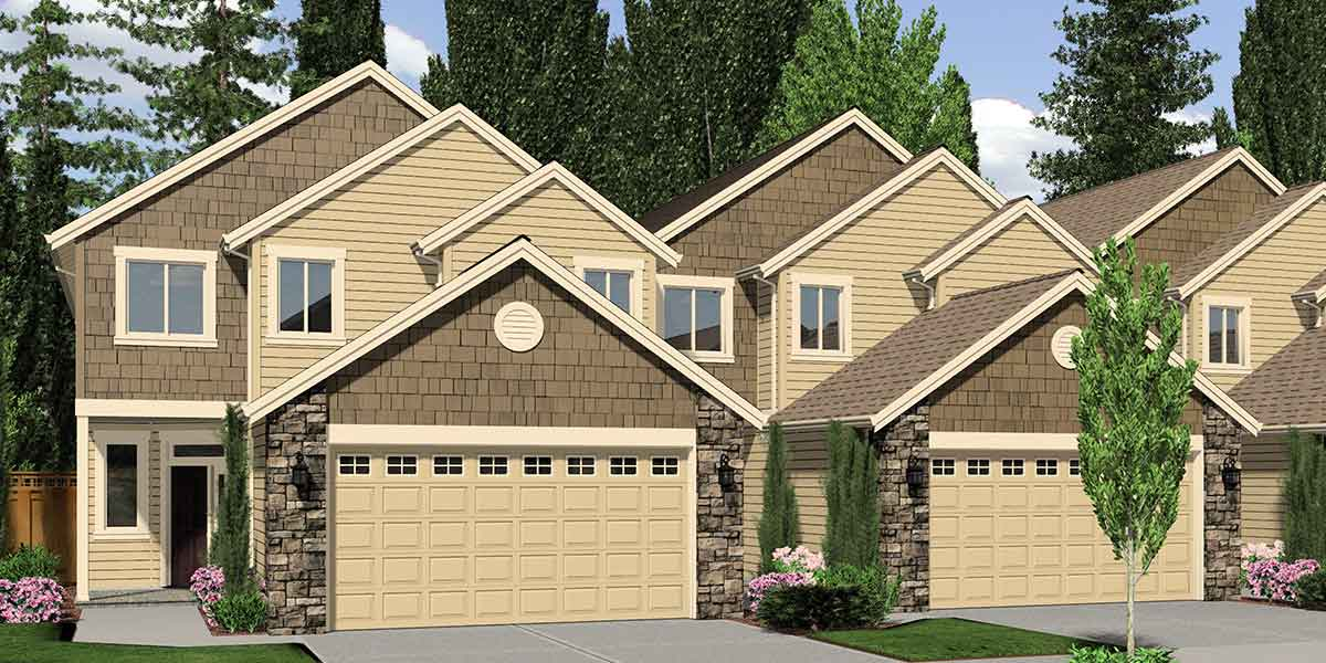 F 541 4 Plex House Plans Master Bedroom On Main Unit Townhouse