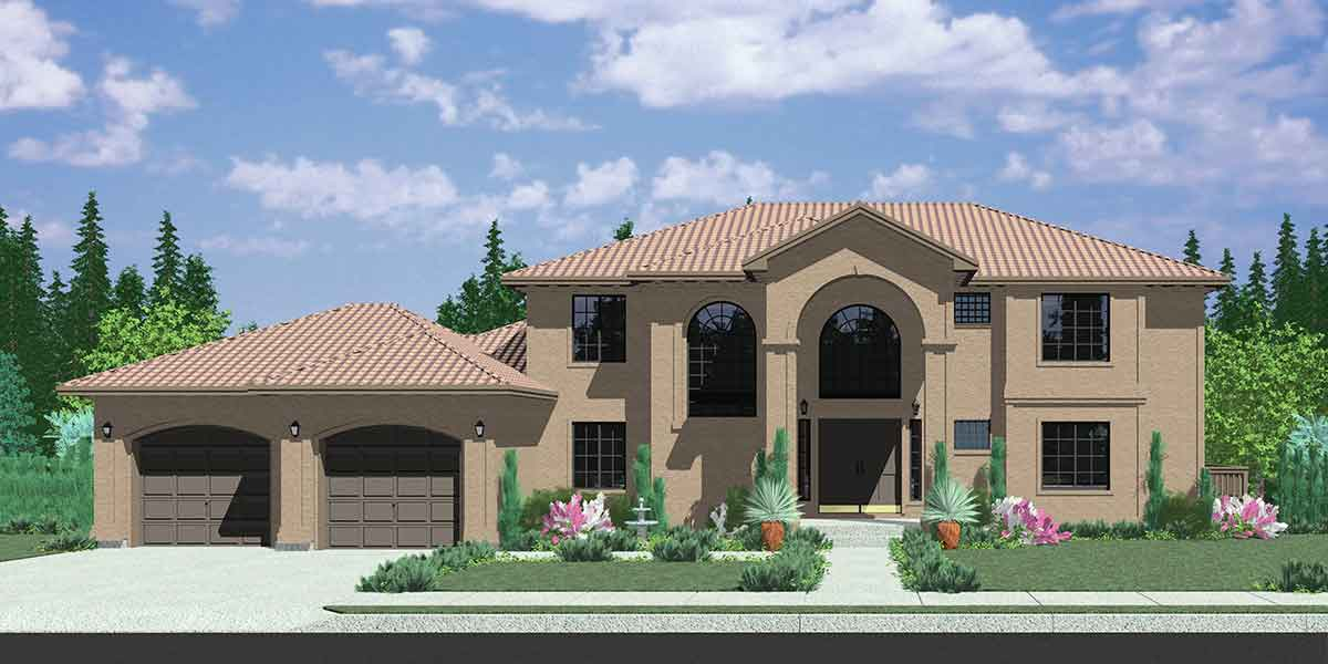 House Front Color Elevation View For 10042 Mediterranean House Plans,  Luxury House Plans, Walk Home Design Ideas