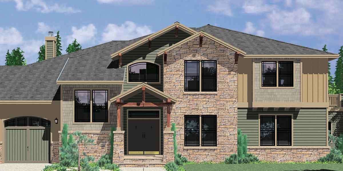 House rear elevation view for 10113 Luxury House Plans, Craftsman house plans, 4 bedroom house plans