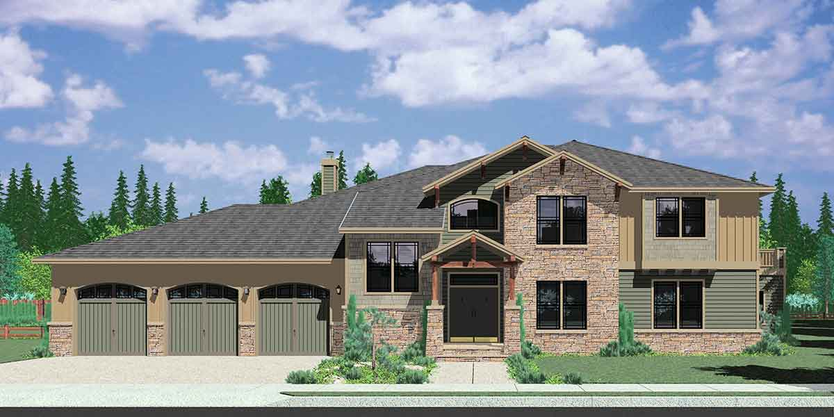 House plans with mother in law suite or second master bedroom for 5 bedroom craftsman house plans