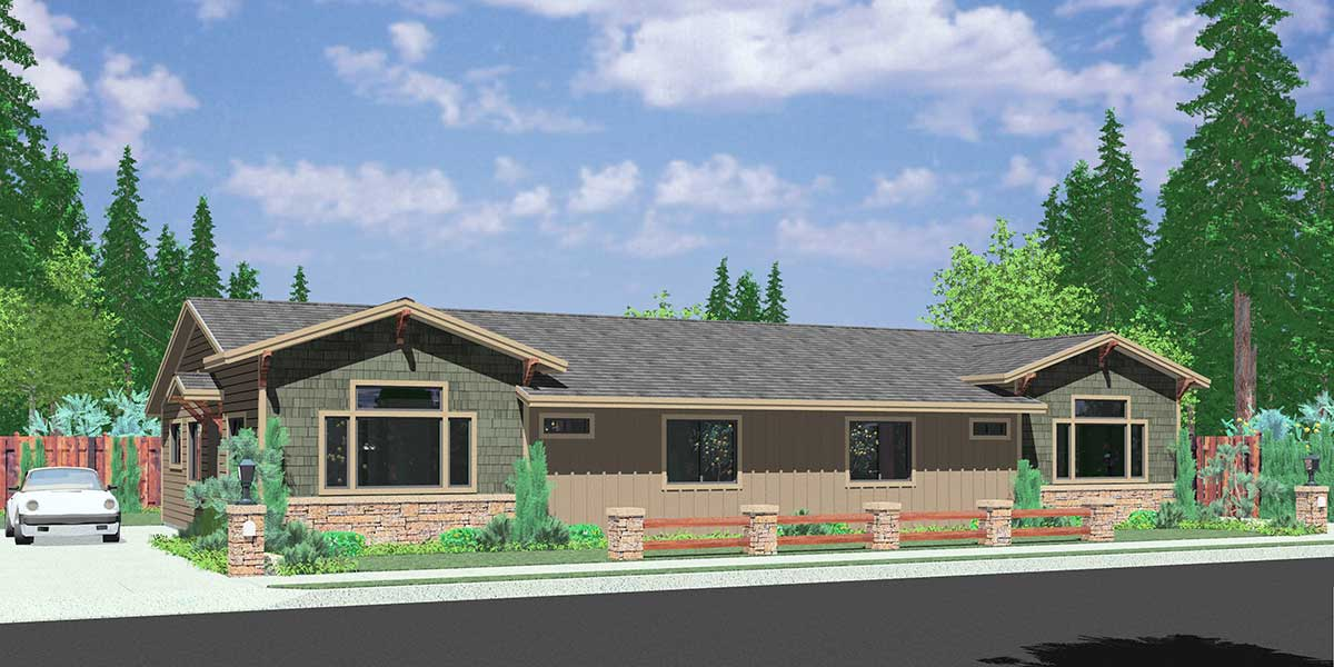 D 588 One story duplex house plans ranch