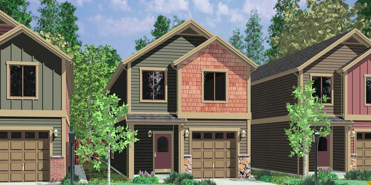 Narrow lot duplex house plans narrow and zero lot line Narrow lot duplex