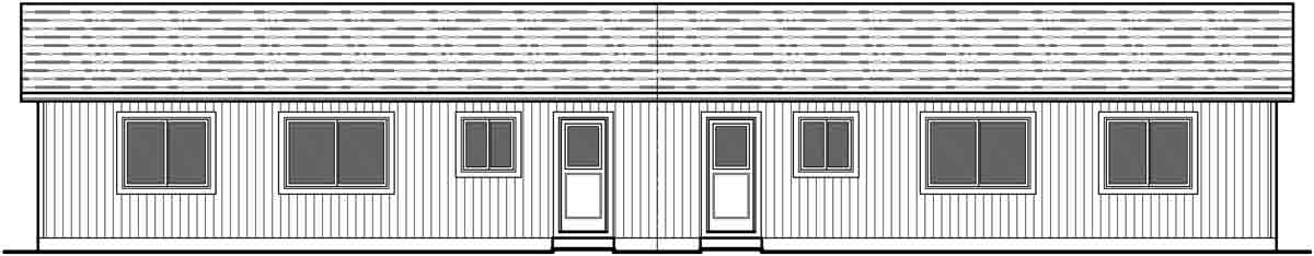 House front drawing elevation view for D-587 Duplex house plans, ranch duplex house plans, one level duplex house plans, one story duplex house plans, two bedroom duplex house plans, affordable duplex house plans, D-587