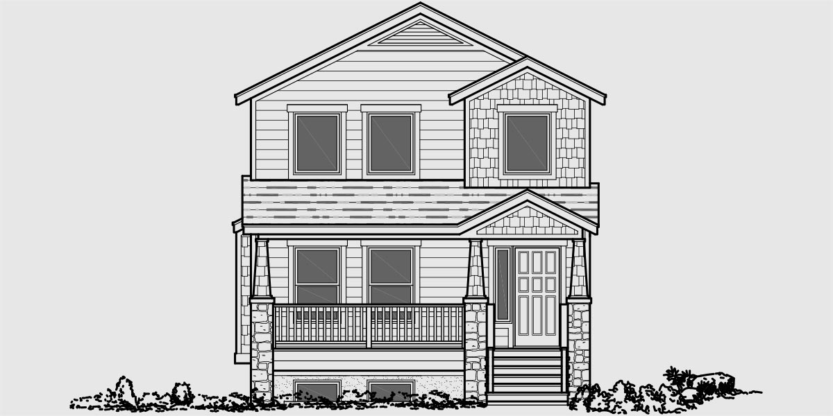 Duplex house plans two unit home built as a single family for Front view house plans