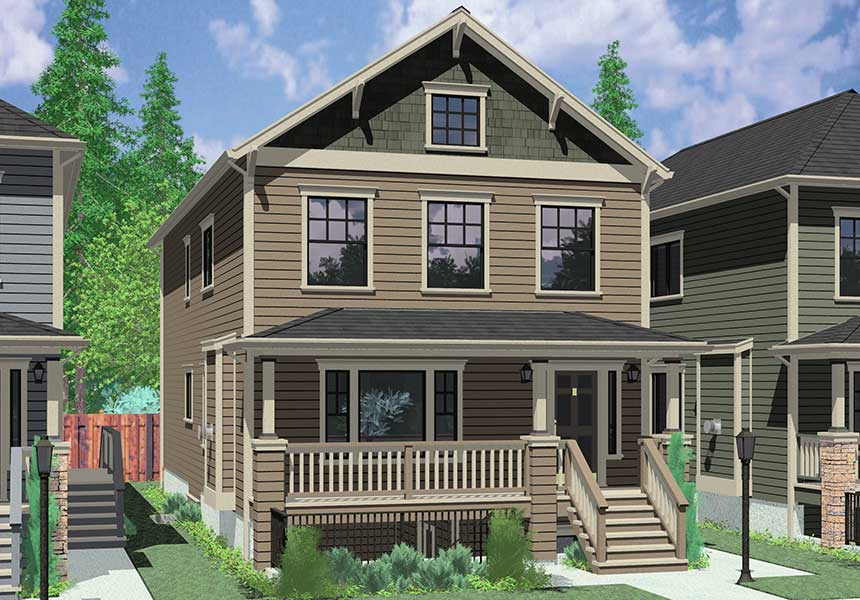 Stacked duplex home house floor plans blueprints for Multi family plans for narrow lots