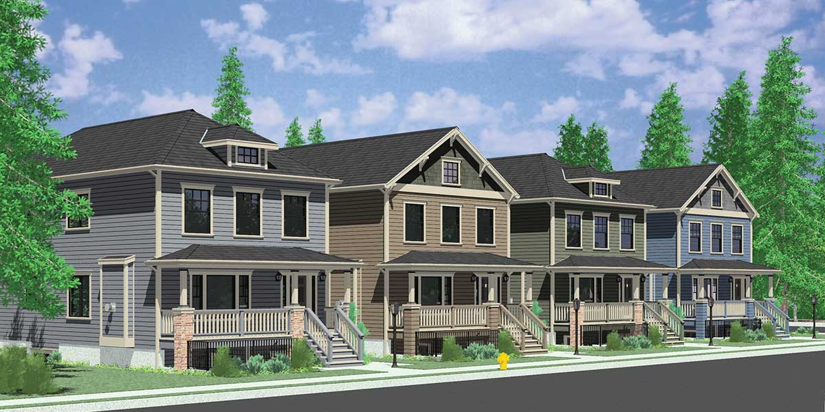 House side elevation view for D-591 Multigenerational house plans, 8 bedroom house plans, house plans with apartment, ADU house plans, D-591