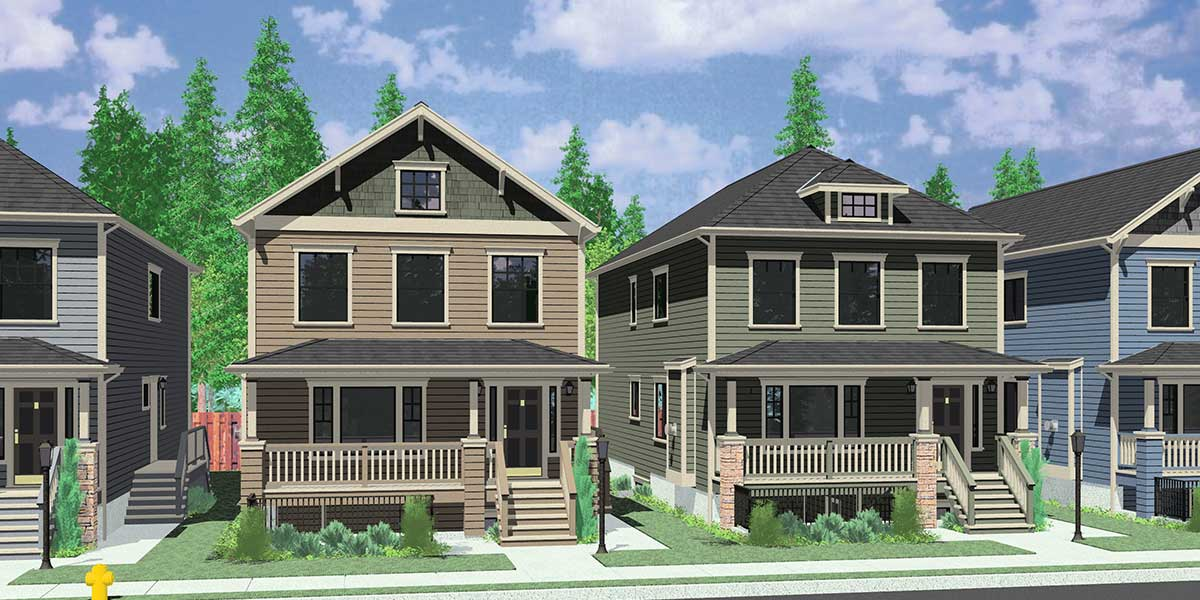 House Front Drawing Elevation View For D 592 Multi Generational House Plans,  8