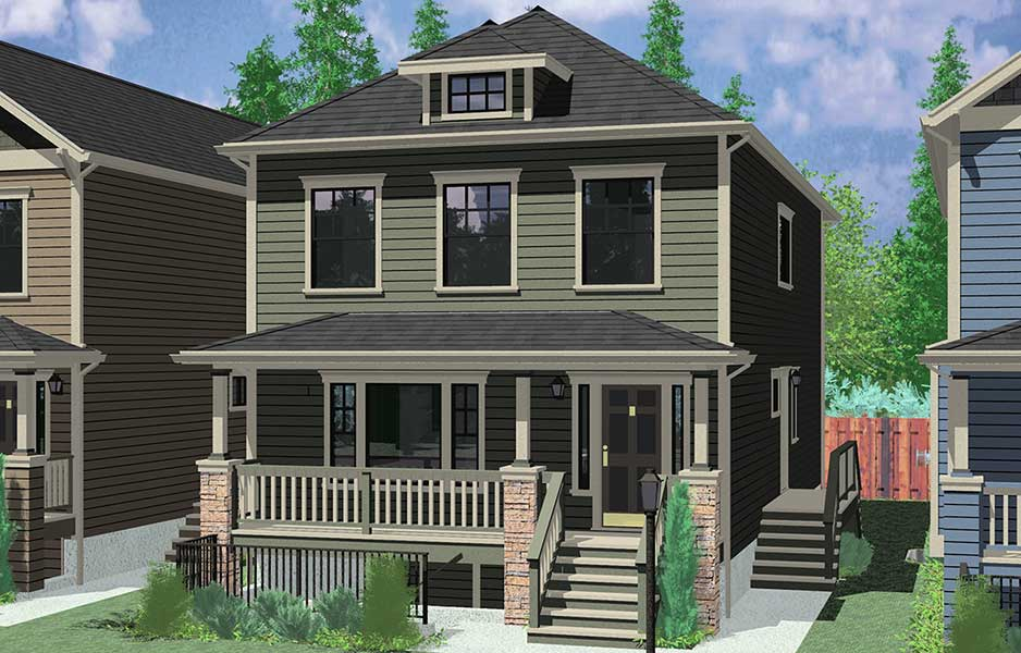 House Front Color Elevation View For D 592 Multi Generational House Plans, 8