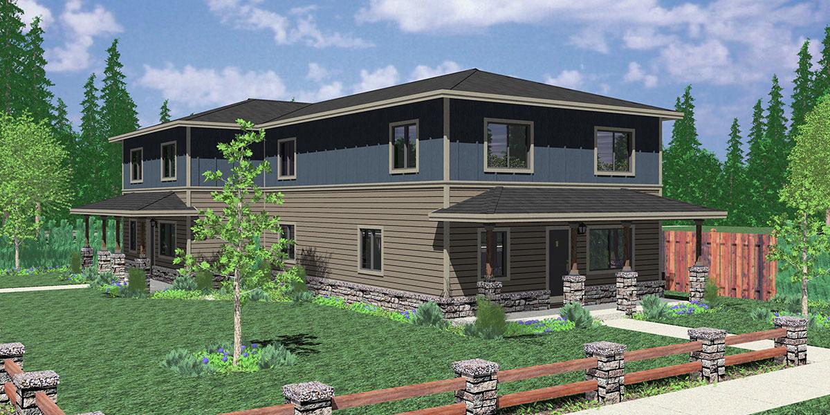 Corner Duplex House Plans, Duplex House Plans