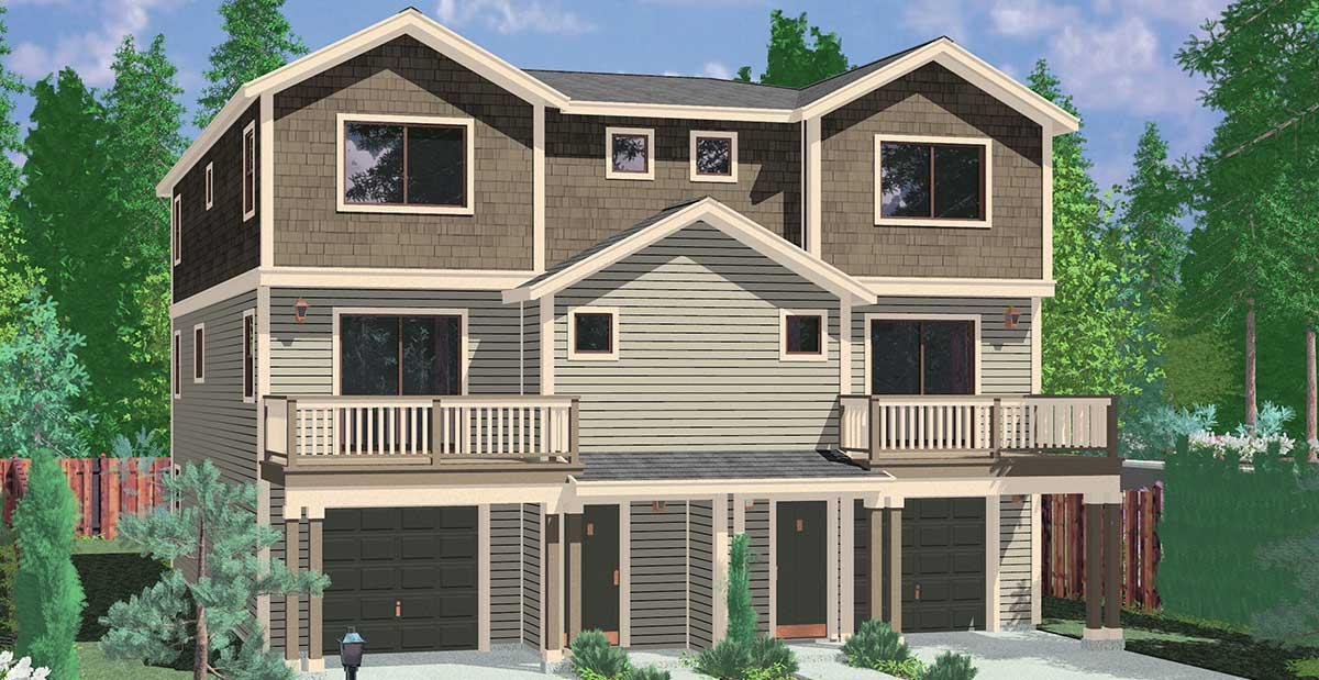 Town house and condo plans multi family and townhome for Duplex builders near me