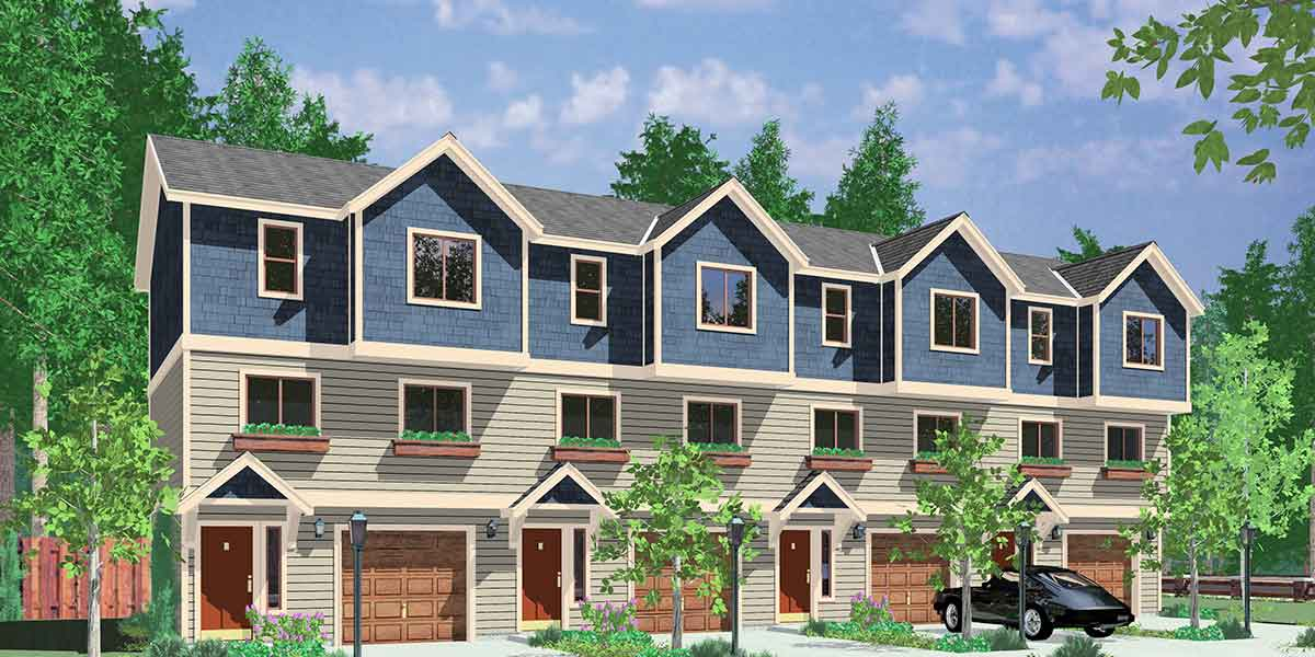 House front color elevation view for F-549 4-plex house plans, double master suite house plans, F-549