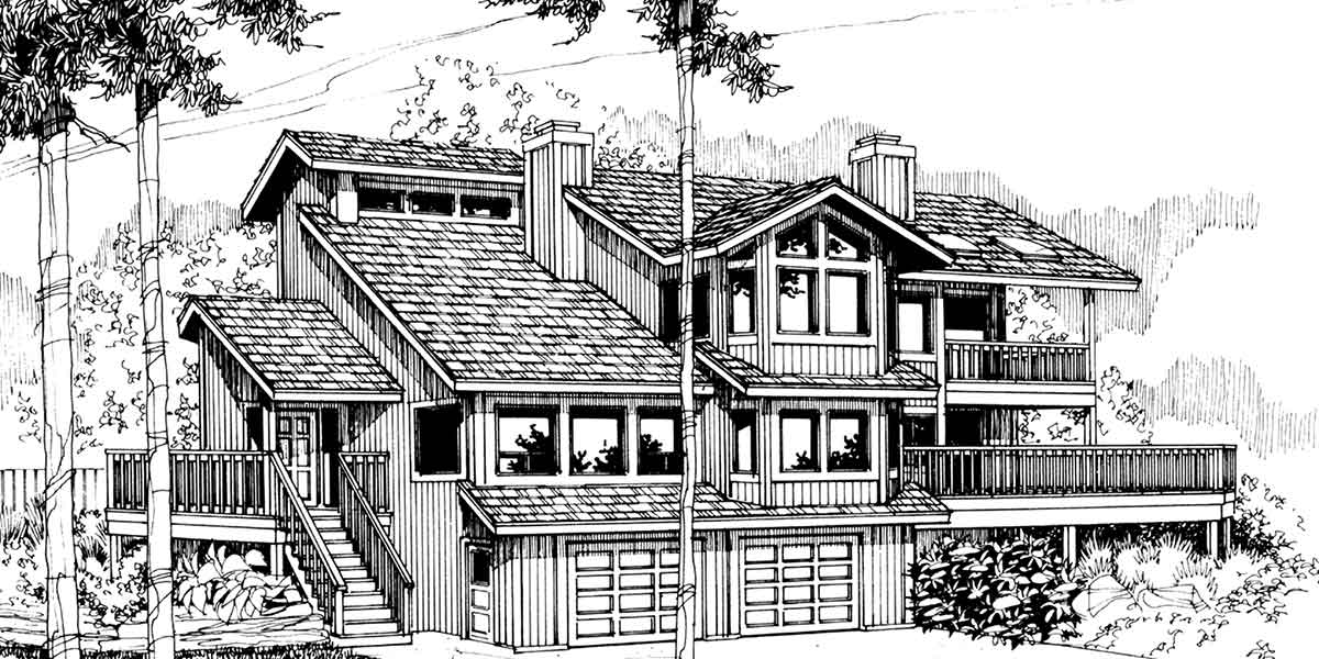 House Front Drawing Elevation View For 9600 View House Plans, Sloping Lot  House Plans,