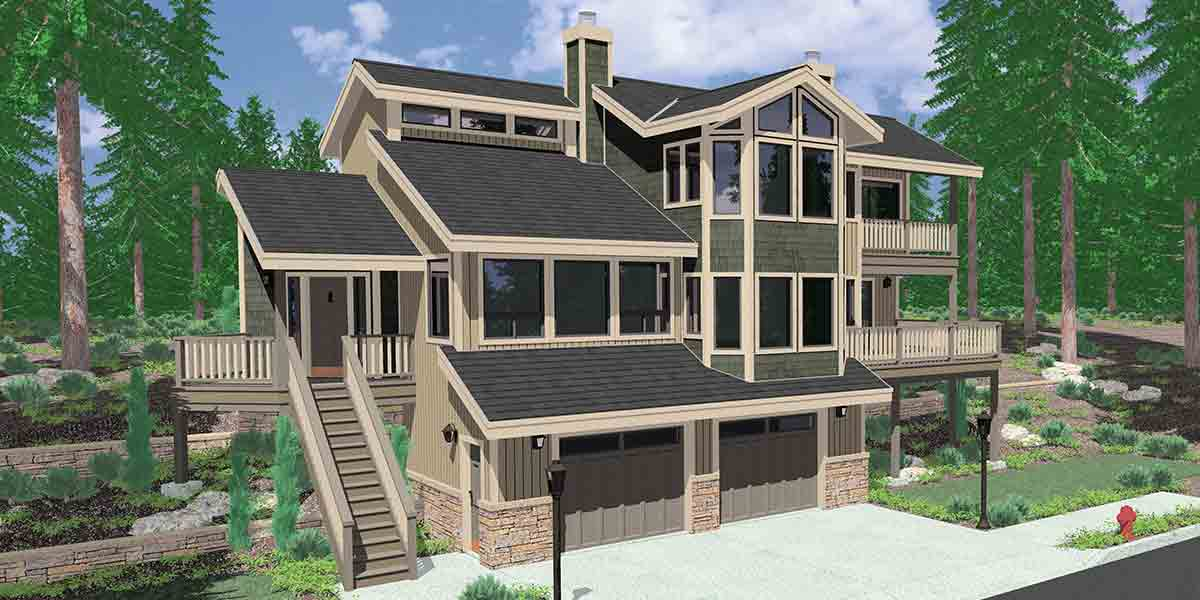 View home sloping lot multi level house plan 3d home for Building a garage on a sloped lot