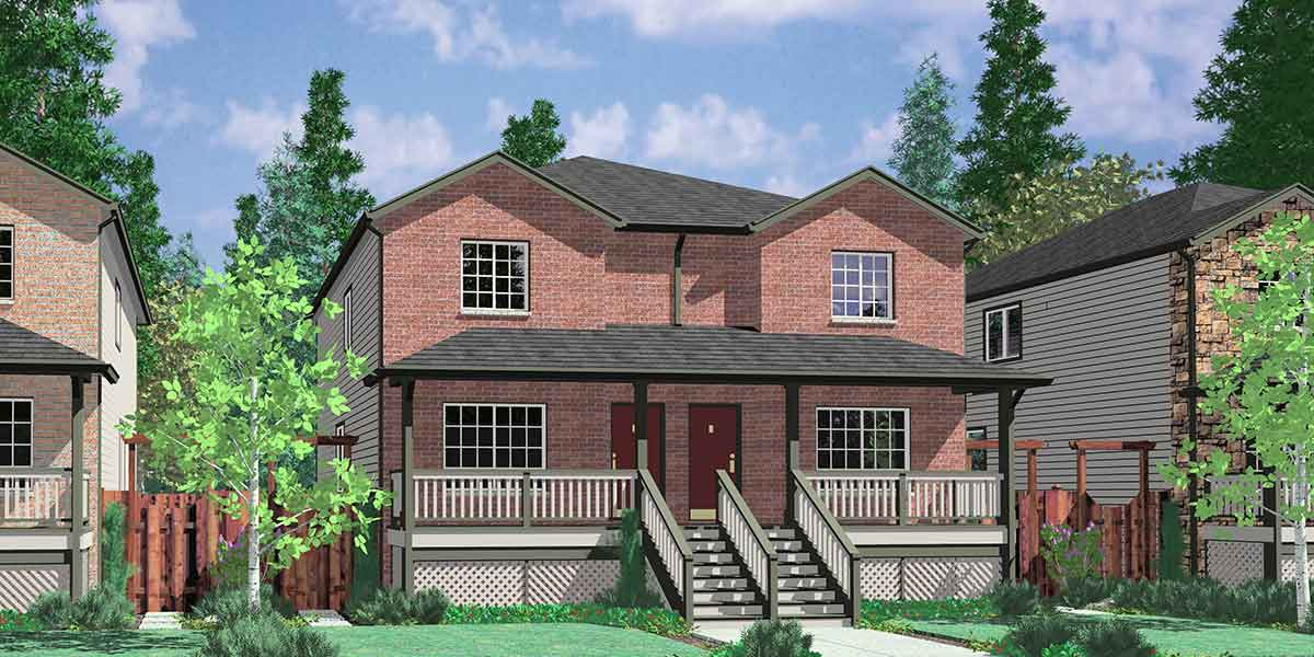 Duplex house plans brownstone house plans d 445 for Brownstone house plans