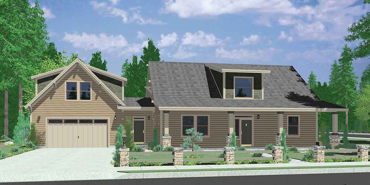 10142 country house plan carriage garage master bedroom on main floor - Custom Small Home Plans