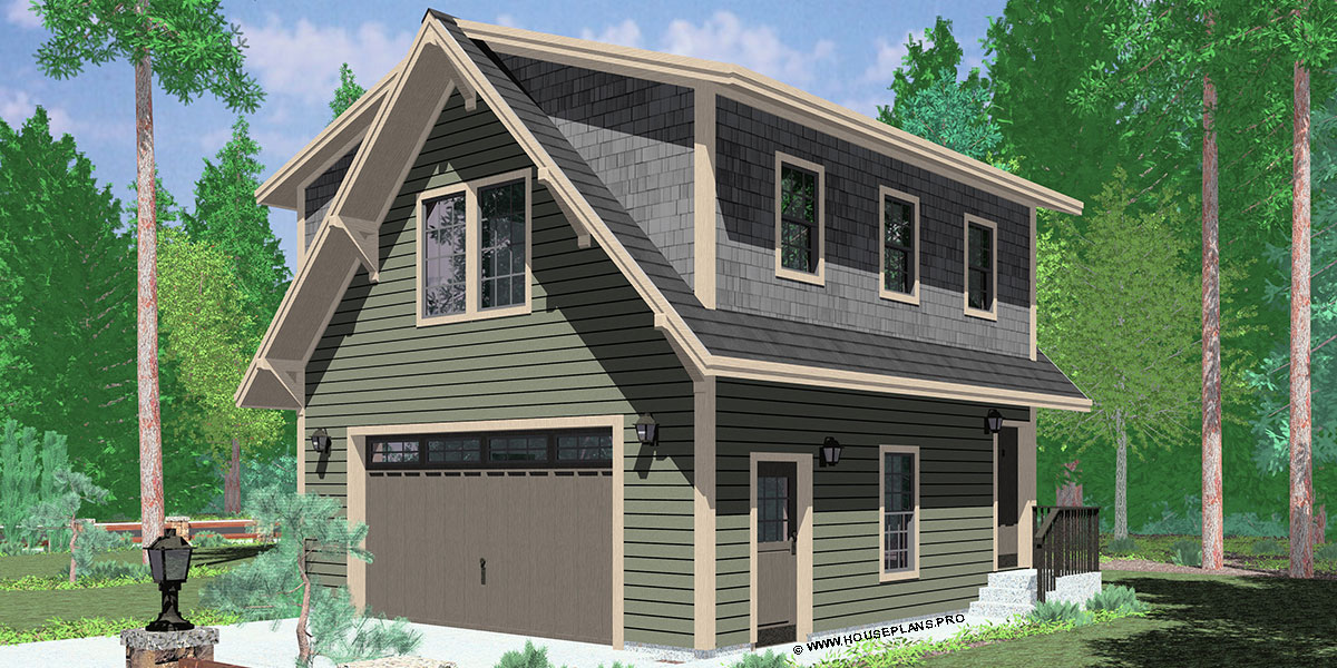 House Front Color Elevation View For 10129 Garage Apartment Carriage House  Plans ADU