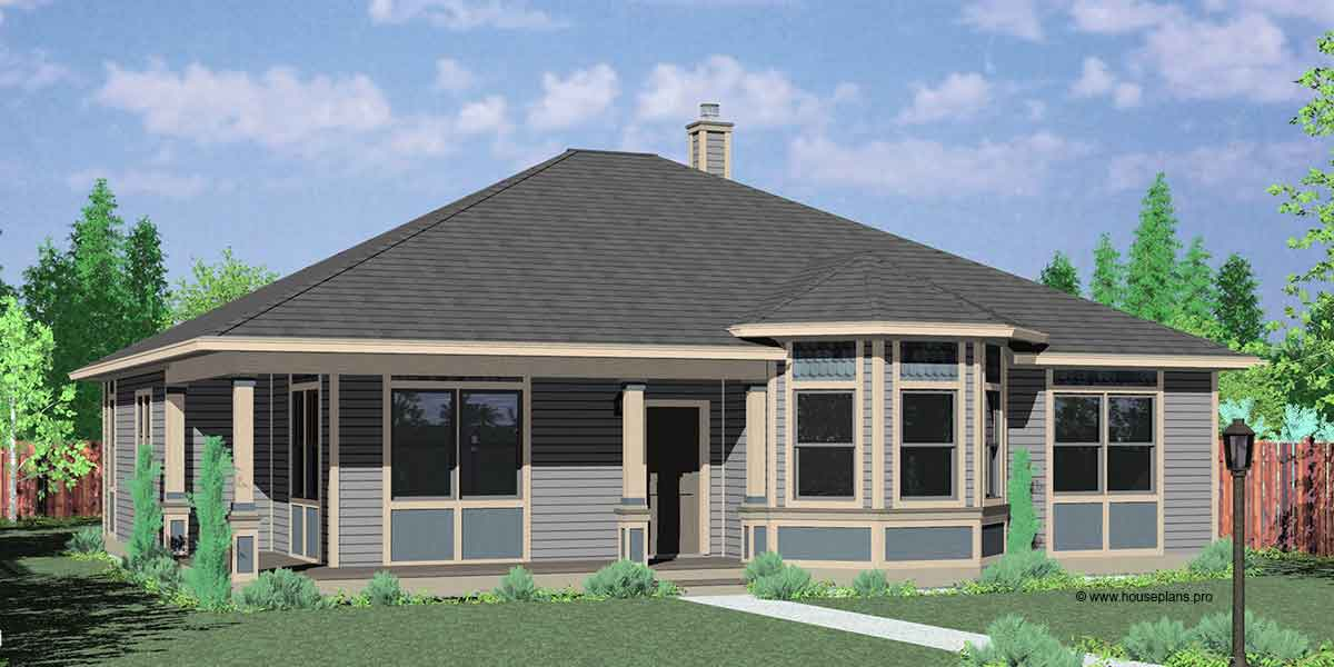house front color elevation view for 10153 victorian house plans one story house plans - Single Story House Plans