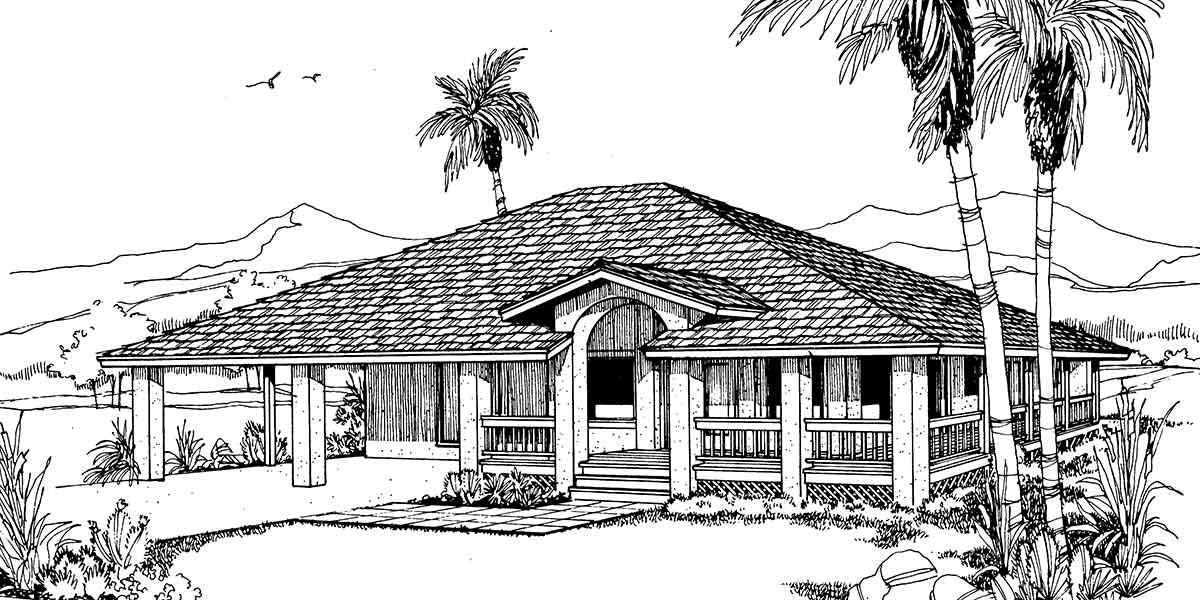 Beach house plan w wrap around porch for Beach house plans 1 story