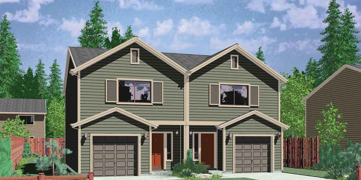 D-503 Narrow lot duplex house plans, 2 bedroom duplex house plans, affordable duplex floor plans, D-503