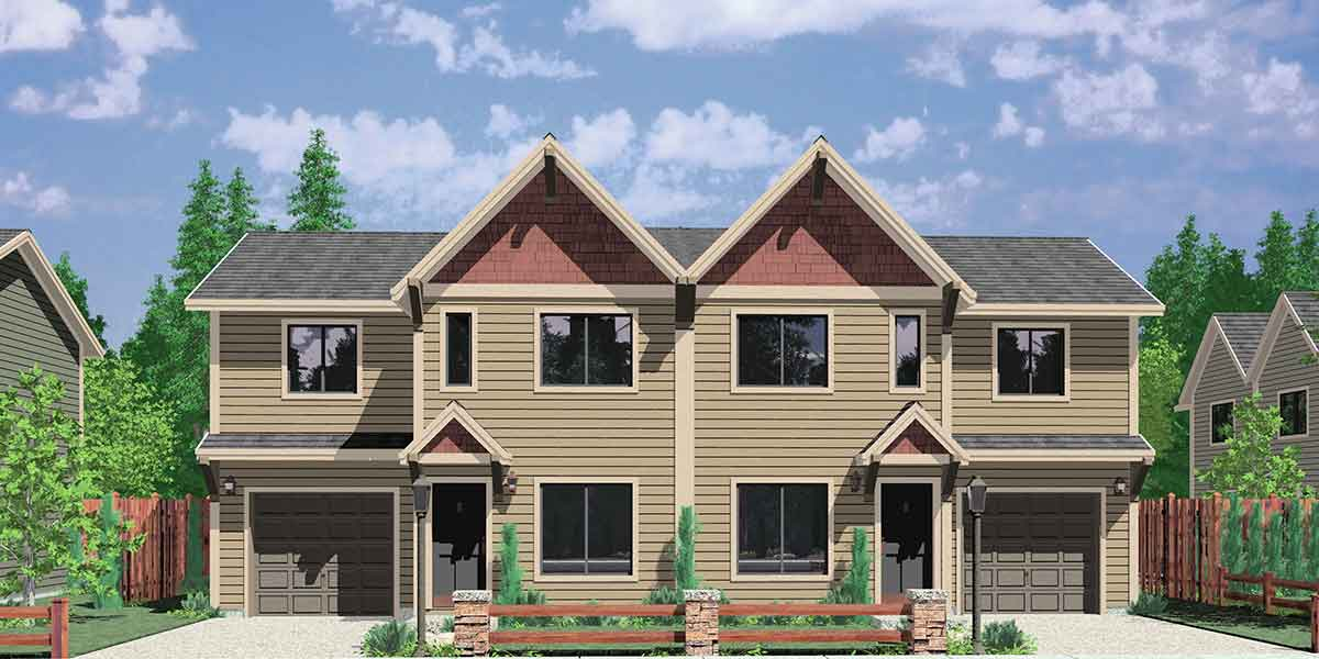 D-512 Duplex house plans, duplex house plans with garage, small duplex house plans, two story duplex house plans, D-512