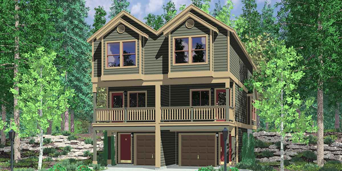 Narrow Townhouse Plan  Duplex Design  Story Townhouse  D  House front color elevation view for D  Narrow townhouse plans  duplex house plans