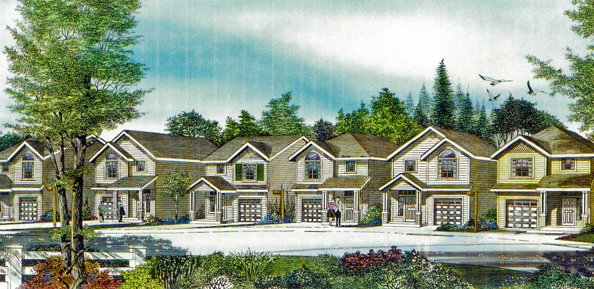 Narrow house plan at 22 feet wide open living 3 bedroom 2 for Narrow home plans with garage