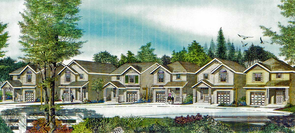 House front color elevation view for 10159 Narrow Lot House Plan at 22 feet wide with open Living area 3 bedroom 2.5 baths 1 car garage gable roofs