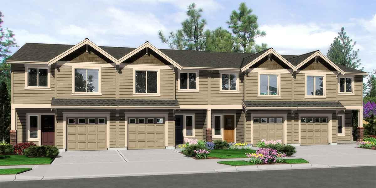 F-547 Fourplex plans, 20 ft wide house plans, row home plans, 4 plex plans with garage, F-547