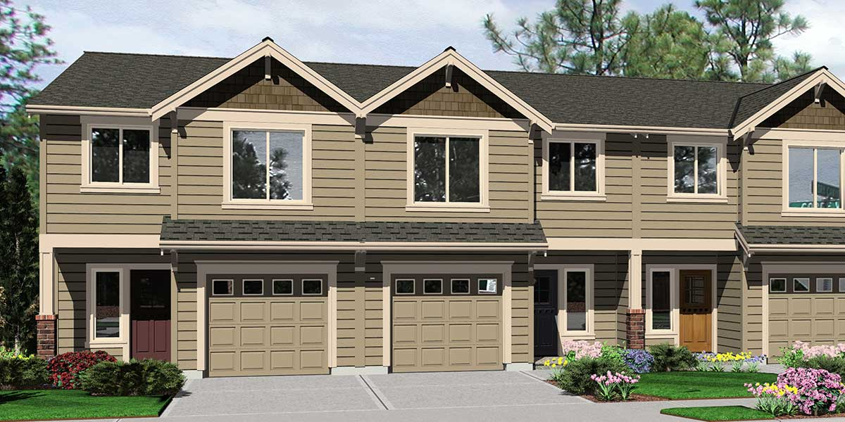 Triplex house plans 4 plex plans quadplex plans for How wide is a 3 car garage