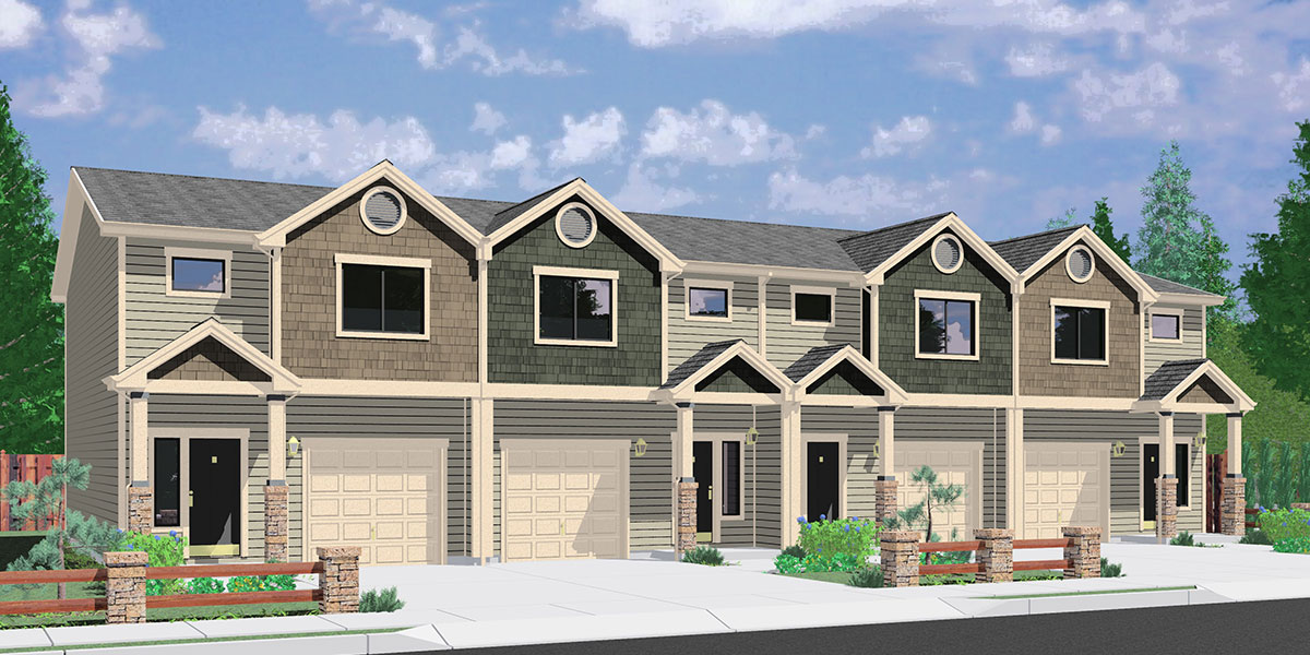 F 564 Four Plex House Plans, Best Selling Floor Plans, Narrow Lot Townhouse