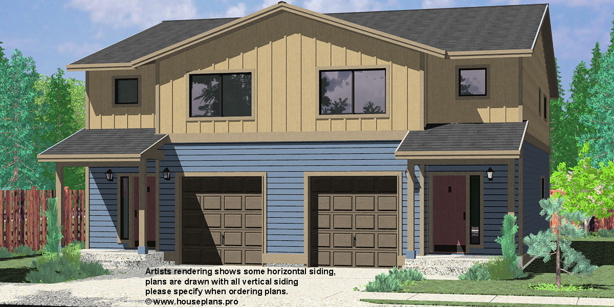 Narrow lot duplex house plans narrow and zero lot line for Single story duplex