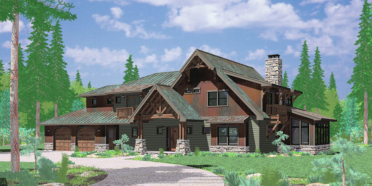 timber frame house plan craftsman house plan renderfront 10116