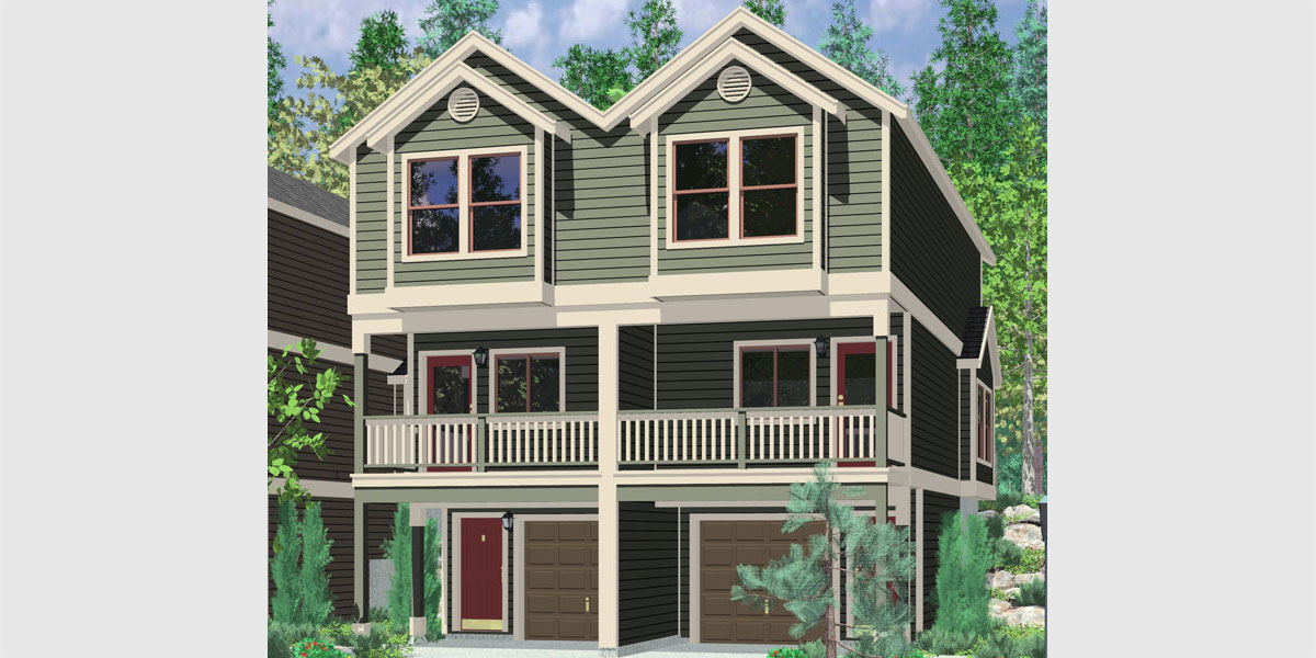 Quadplex plans narrow lot house plans row house plans f 556 for Multi family plans for narrow lots