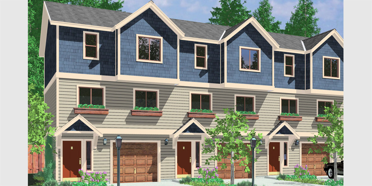 Triplex house plans multi family homes row house plans for Triplex home plans