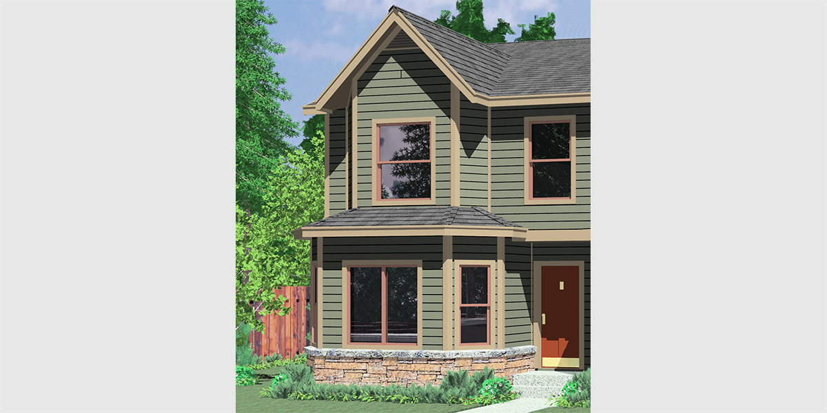 Duplex house plans 2 story duplex house plans d 480 for Duplex cottage plans