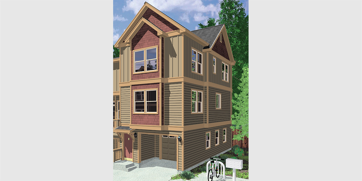 Narrow lot duplex house plans narrow and zero lot line Townhouse plans with garage