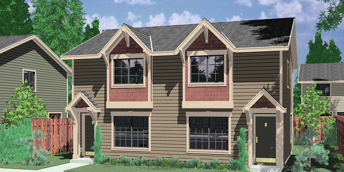 Duplex house plans designs one story ranch 2 story for Narrow house plans with attached garage