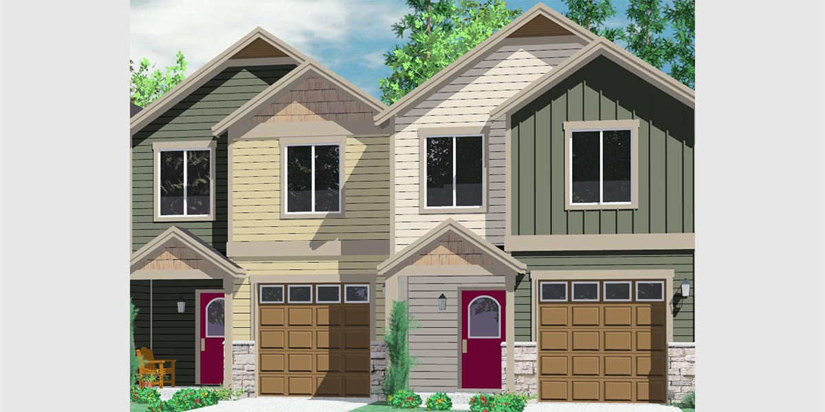 Multi family craftsman house plans for homes built in 4 plex plans narrow lot